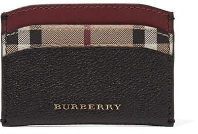 Burberry - Textured-leather And Checked Coated-canvas Cardholder - Black