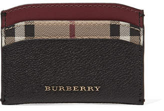 Burberry Textured-leather And Checked Coated-canvas Cardholder - Black
