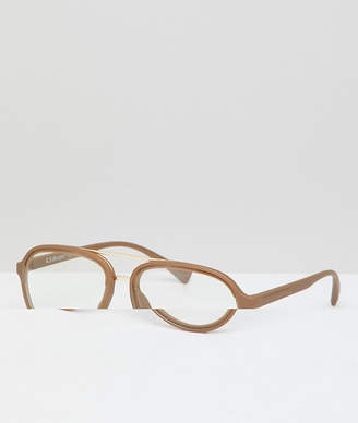 A. J. Morgan Aj Morgan AJ Morgan Aviator Clear Lens Glasses In Gold
