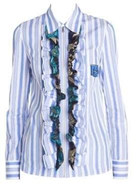 Prada Women's Stripe Ruffle Zip-Up Shirt - Blue Turquoise - Size 40 (4)