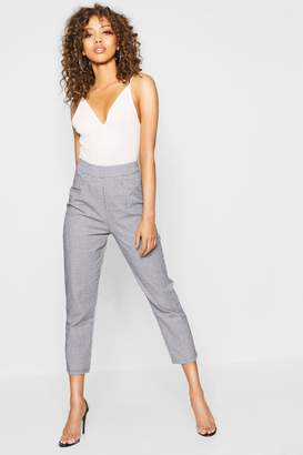 boohoo Woven Dogtooth Slim Fit Trousers