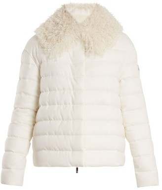 Moncler Gamme Rouge Shearling Trimmed Quilted Down Cashmere Jacket - Womens - Cream