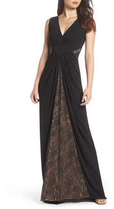 Tadashi Shoji Pintuck & Lace Gown
