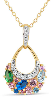 Swarovski FINE JEWELRY 18K Gold over Silver Multi Color Topaz Cluster Pendant Necklace featuring Genuine Gemstones