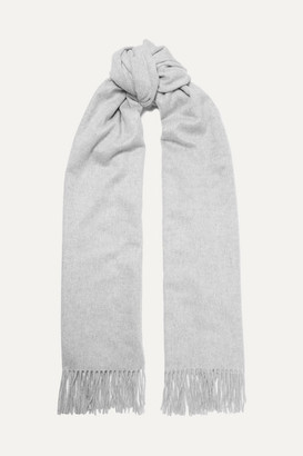 Johnstons of Elgin Fringed Cashmere Stole - Light gray