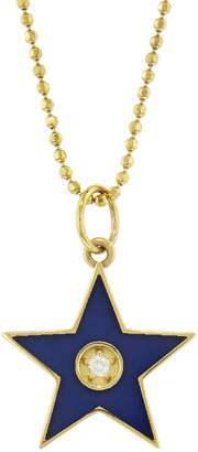 Andrea Fohrman Blue French Enamel Star Necklace - Yellow Gold