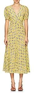 Saloni Women's Lea Algae-Print Silk Midi-Dress - Yellow
