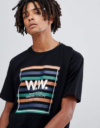 Wood Wood striped box logo t-shirt in black