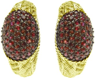 Judith Ripka 14K Clad Textured Ruby Half J HoopEarrings