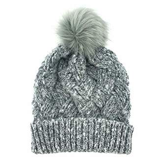 accsa Women's Winter Fur Pom Cable Knit Beanie Hat
