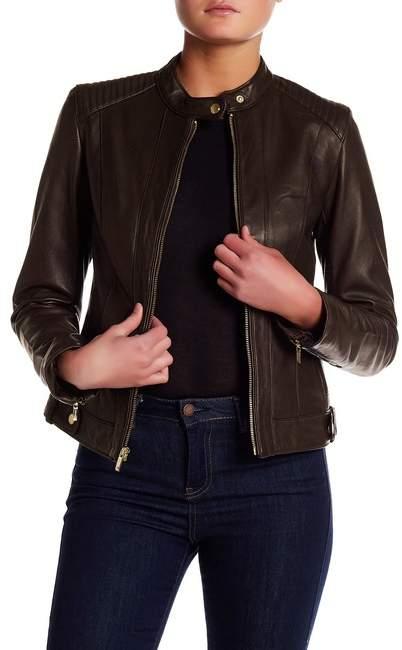 Cole Haan Cole Haan Genuine Lamb Leather Moto Jacket