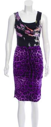 Dolce & Gabbana Silk Sleeveless Printed Dress Purple Silk Sleeveless Printed Dress