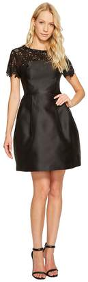 Jessica Simpson Solid Party Dress with Neck Trim JS7A9450 Women's Dress