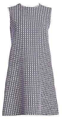 Valentino Women's Optical Print Wool& Silk Shift Dress