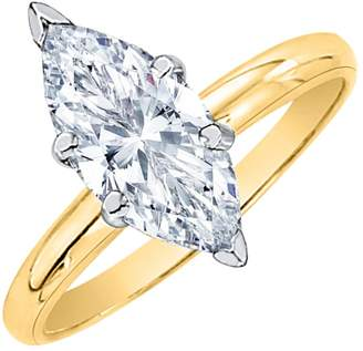 Marquis KATARINA 3/8 ct. - SI2 Cut Diamond Solitair ngagmnt Ring in 14k Yllow Gold (Siz-10.5)