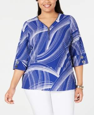 JM Collection Plus Size Printed Zip-Front Top, Created for Macy's