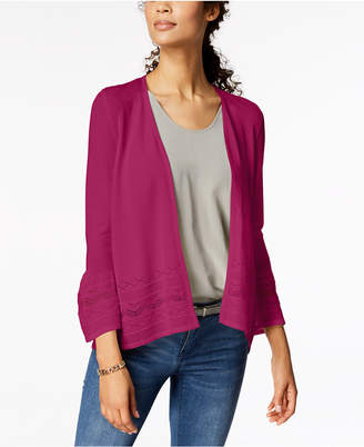 Charter Club 3/4-Sleeve Pointelle-Knit Cardigan