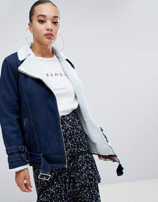 Missguided fleece lined denim jacket