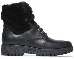 MICHAEL Michael Kors Shearling-Lined Lace-Up Leather Boots