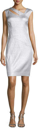 Kay Unger New York Metallic Jacquard Cutout Dress, Platinum