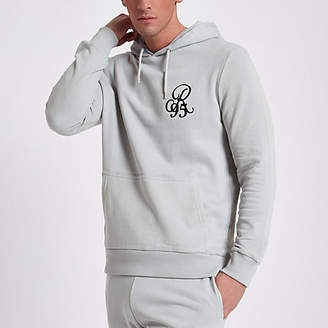 River Island Mens Light Grey slim fit R95 hoodie