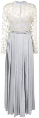 Self-Portrait long-sleeve pleated dress