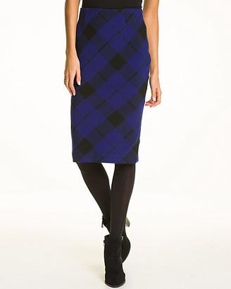 Le Château Plaid Print Double Weave Midi Skirt