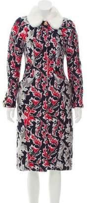 Thom Browne Mink-Trimmed Jacquard Coat