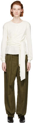 Lemaire White Wool Wrap Sweater