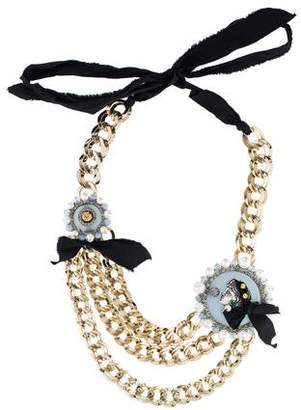 Lanvin Crystal, Faux Pearl & Bead Cameo Necklace