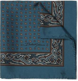 Dolce & Gabbana Paisley-Print Silk-Twill Pocket Square - Navy
