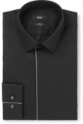 be9162e8f9d HUGO BOSS Black Slim-Fit Piped Cotton-Poplin Tuxedo Shirt