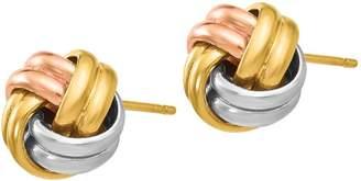 Italian Gold Tri-Color Knot Post Earrings, 14K