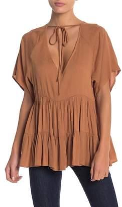 Anama Tie Neck Short Sleeve Blouse