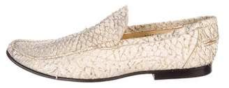 Dolce & Gabbana Python Pointed-Toe Loafers