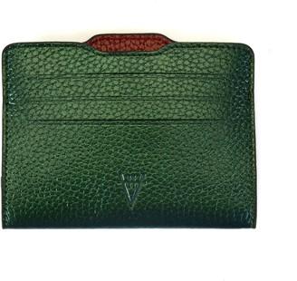 Atelier Hiva Double Card Holder Metallic Green & Metallic Burgundy