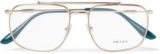 Prada Aviator-Style Gold-Tone Optical Glasses