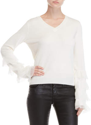 Derek Lam 10 Crosby V-Neck Tiered Ruffle Sleeve Sweater