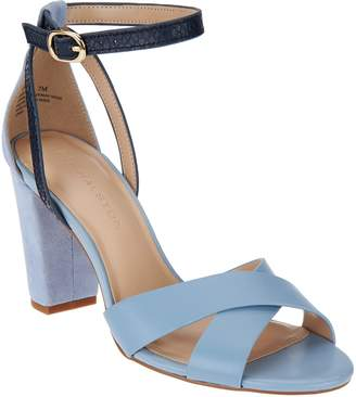 Halston H By H by Leather & Suede Strappy Block Heel Sandals - Kaelyn