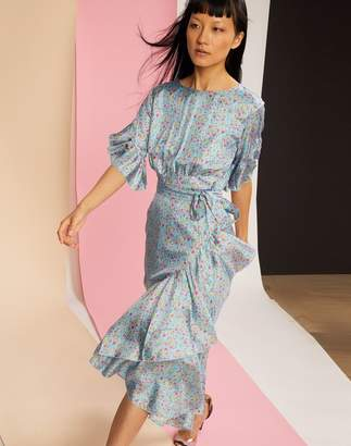 Cynthia Rowley Wallflower Sky Floral Wrap Dress