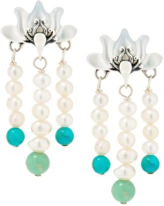 Carolyn Pollack Lotus Flower Sterling Silver Pearl Earrings