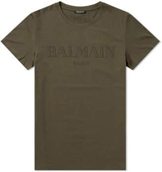 Balmain Flocked Logo Print Tee
