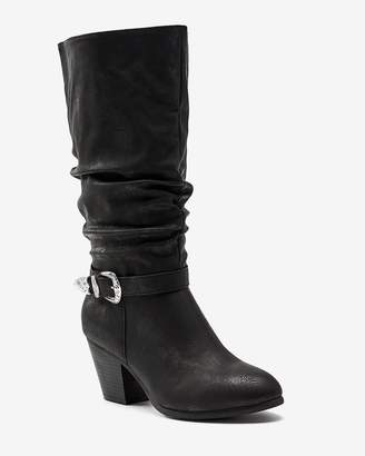 Slouchy High Heel Boot with Western Buckle - Sue