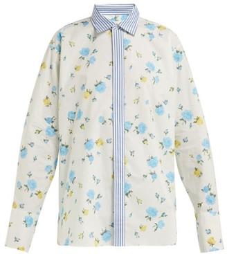 Golden Goose Floral Print Cotton Poplin Shirt - Womens - White Print