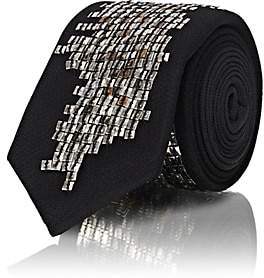 Title of Work TITLE OF WORK MEN'S SEQUINED-WORD SILK NECKTIE - BLACK