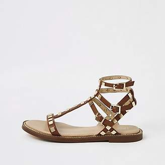 River Island Brown studded strappy sandals