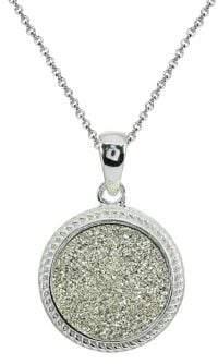 Lord & Taylor Sterling Silver & Druzy Quartz Pendant Necklace