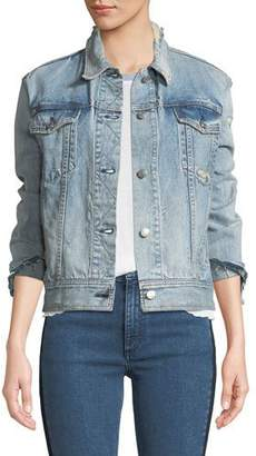 Rag & Bone Nico Button-Down Distressed Light-Wash Denim Jacket