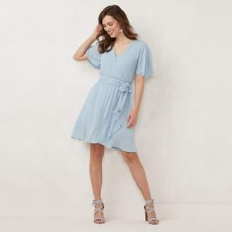 Lauren Conrad Women's Ruffle Faux-Wrap Dress