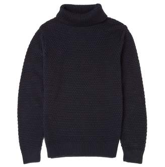 Finn Osso London Merino Wool Moss Stitch Roll Neck Jumper